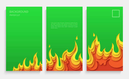 Set of green posters with fire. Layered design in paper style. Place for text. Vector illustration