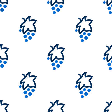 Seamless pattern with grapes in blue and white colors. Dark pattern on a light background with doodles for printing on fabrics, paper, packaging. Vector illustration
