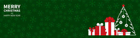 Christmas tree with gifts, balls on a green background with snowflakes. Congratulatory text. Horizontal Christmas banner, headers, sites. Flat modern design. Vector illustration Иллюстрация