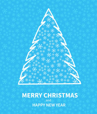 Christmas poster with stylized fir tree. Greeting New Year cards flat graphic design. Place for text. Vector illustration