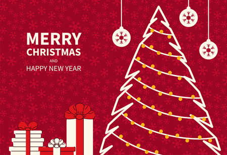 Christmas poster with stylized gifts, balls and fir trees. Greeting New Year cards flat graphic design. Place for text. Vector illustration Çizim