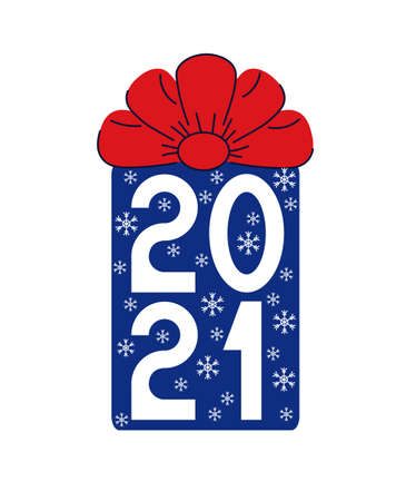 Happy new year 2021 text. Numbers inside a blue gift with a red bow. Template for your holiday flyers, greeting and invitation cards, website headers, advertisements. Vector illustration