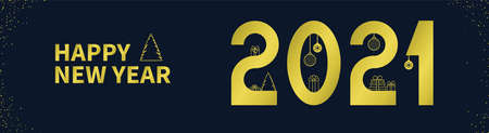 HAPPY NEW YEAR 2021 text. Gold numbers, spruce, balls on a dark background. Horizontal banner template for your holiday flyers, greeting and invitation cards, website headers, advertisements.
