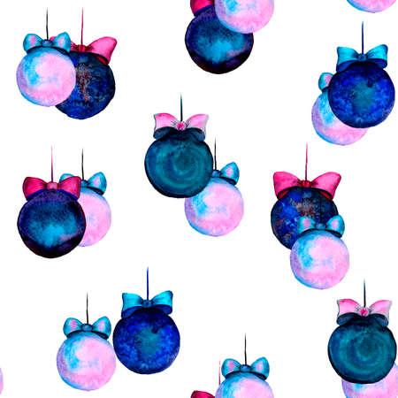 Watercolor balls without patterns. New Year and Christmas seamless pattern. Drawing for fabric or gift wrapping.