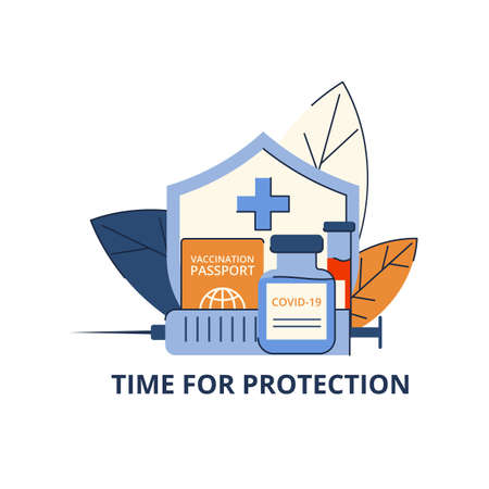 Time of protection against covid-19. Vaccination against viruses. Testing for antibodies. Place for text. Isolated concept on white background. Vector illustration