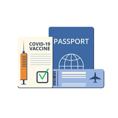 New normal. Safe travel in a pandemic. Immunity passport, tickets, permission, border opening. Vaccination requirement against Covid-19. Vector illustration Ilustracje wektorowe