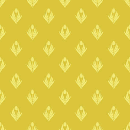 Seamless pattern with a pattern of the silhouette of tulips and leaves. Design in gold and yellow for printing, packaging, fabric. Damascus styling. Vector