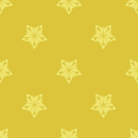 Seamless pattern with a pattern of the silhouette of tulips and leaves. Design in gold and yellow for printing, packaging, fabric. Damascus styling. Vector Vecteurs