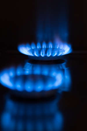 two blue gas flames