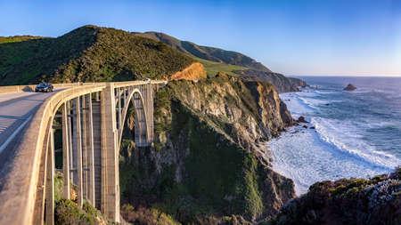 View from the Bixby Bridge shore line near Big Sur Stock Photo