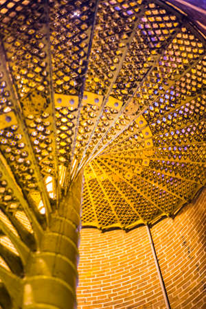 metallic stairs: Spiral stairs that lead the way to the top of the lighthouse. Lower view.