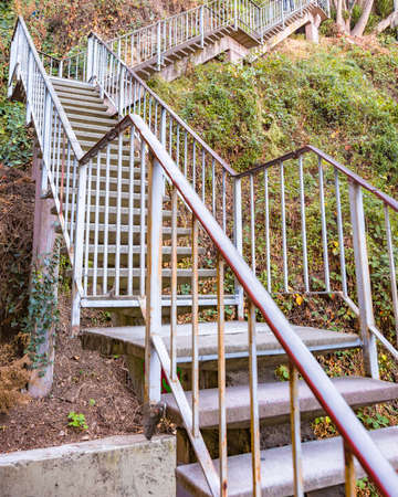 A set of stairs that go up to Coit Tower in San Francisco Stock Photo
