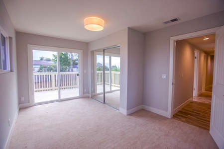 Empty bedroom in a model home in southern California
