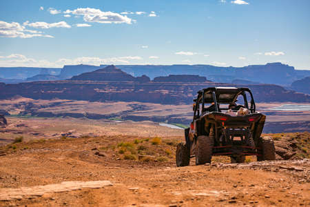 Off road vehicle views of Moab Utah trails on bright sunny days Фото со стока