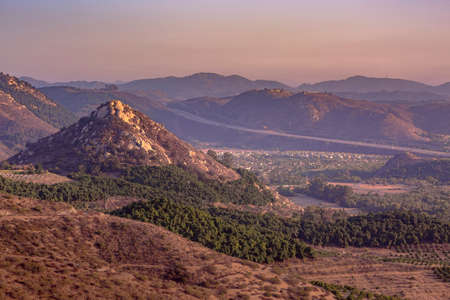 Monserate Mountain views in Fallbrook California. The view off of Monserate mountain where you can see the freeway and three cities