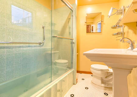 Small apartment bathroom with very nice upgraded ammenities. Wonderful real estate shoot of southern California home San Diego county. Edited to be bright, warm and cozy