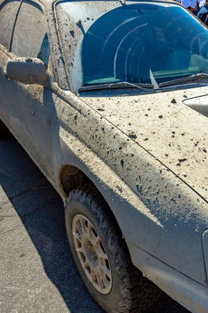 Close-up dry muddy car after offroading adventure. Orange county Subifest photos over summer 2017 Stock Photo
