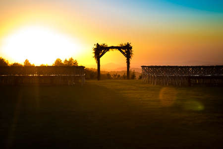 Sundown after a wedding at sunset with no people in view