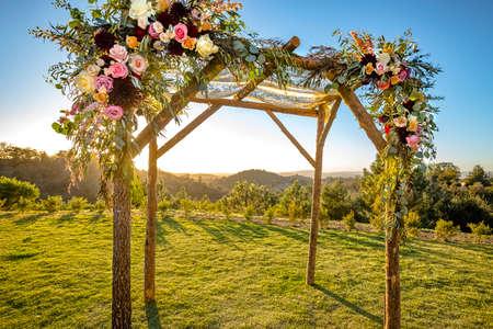 Jewish traditions wedding ceremony. Wedding canopy chuppah or huppah with clear skies