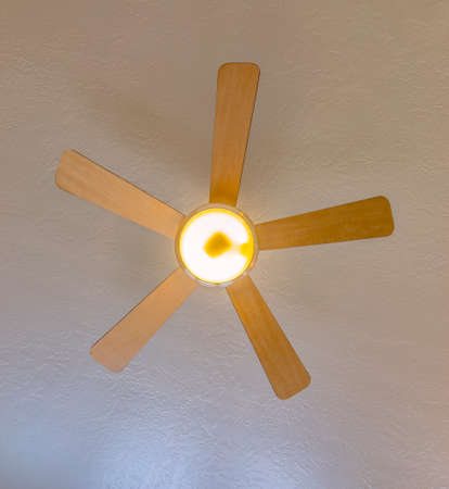 Ceiling fan looking up in model home