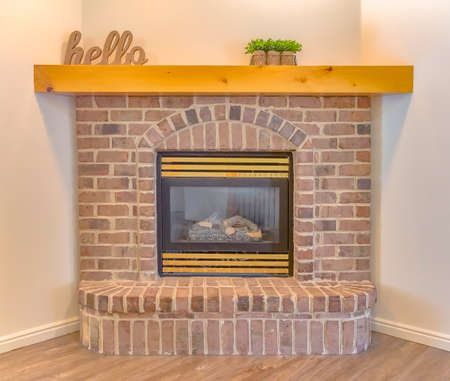 Brick fire place with some decorations