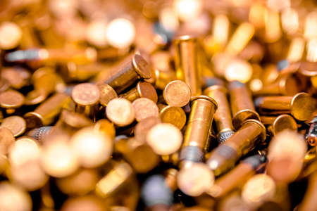 Closeup pile of bullets blur Stock Photo