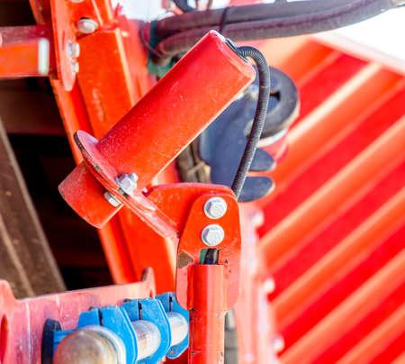 Hydraulic lever seen on a dump truck