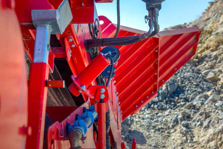 Hydraulic levers on a dump truck in construction