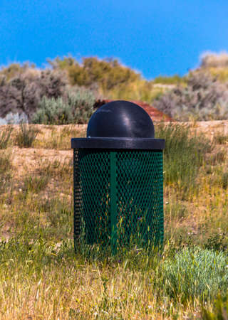 Trash can spotted on a hike in Eagle Mountain