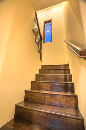 Wooden stairs indoors of home