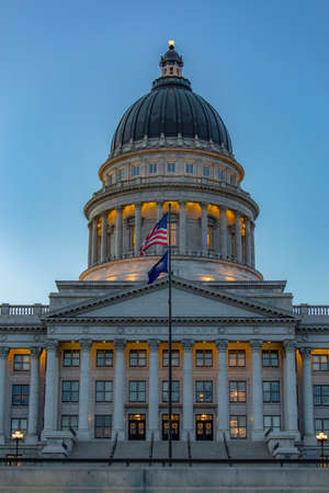 Front of Utah State Capital building at twilight Stock Photo
