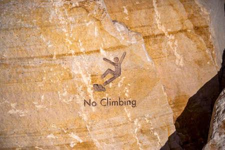 No Climbing inscription on rocks in downtown Stok Fotoğraf
