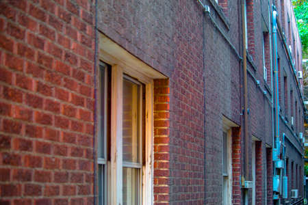 Red brick and windows in downtown