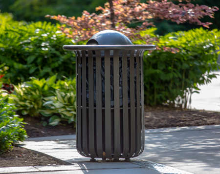 Simple public trash can at Temple Square Stock Photo - 104107369