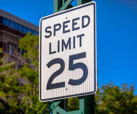 Speed limit 25 sign closeup 写真素材