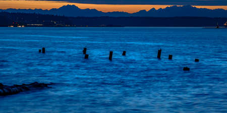 Broken pier in Tacoma Washington at sunset