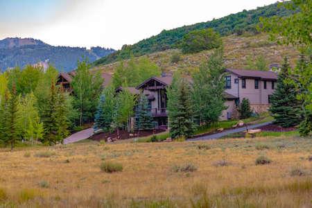 Homes across from field in Park City Utah