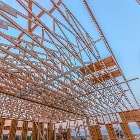 Looking up at new roof wood beams looking up