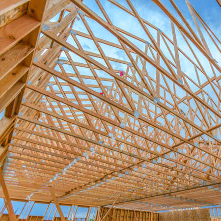 Roof beams wooden close up wide angle Stock Photo
