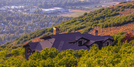 Wonderful homes with a view of valley pano Stock Photo