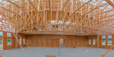 Wide angle of construction building interior pano