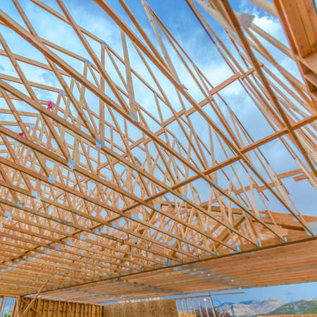 Wide angle roof beams wooden close up