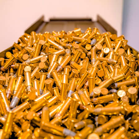 Gold plated bullets in a pile