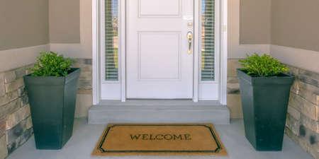 Puerta de entrada con plantas de felpudo y panel de vidrio. Foto de archivo