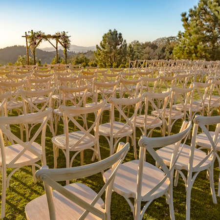 Chuppah and chairs set up for a Jewish wedding
