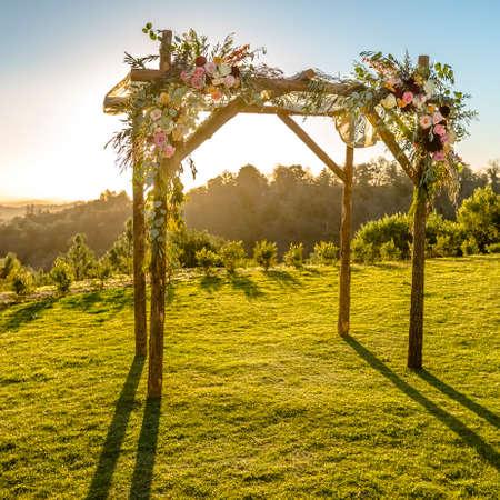 Jewish Wedding with Chuppah and scenic view