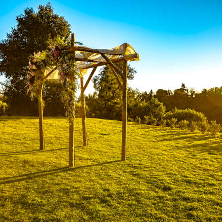 Sunlit Chuppah on a traditional wedding sunset Stock Photo - 108834818