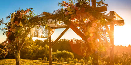 Chuppah with the setting sun in the background