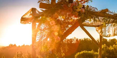 Jewish wedding Chuppah overlooking trees and sky Imagens