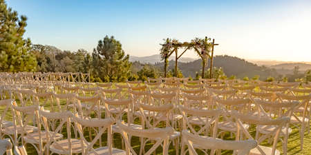 Outdoor wedding with scenic view on a sunny day Stock Photo